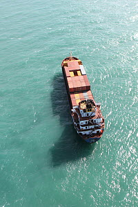 Aerial view of a container ship off Miami Beach, Florida, USA, December 2013. All non-editorial uses must be cleared individually. - Ingrid  Abery