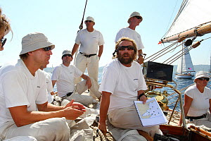 Crew aboard the 1911 Classic yacht Mariquita, day one of Les voiles de St Tropez, St Tropez, southern France, September 2011 All non-editorial uses must be cleared individually. - Ingrid  Abery