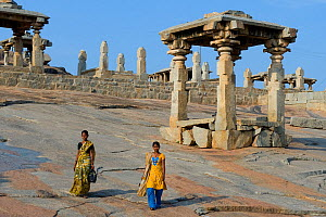 Female pilgrims at the ruins and temple complex in Hampi, former capital of the Vijayanagar kingdom, Karnataka, India, April 2010.  -  Axel  Gomille