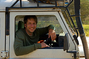 Photographer Axel Gomille in Landrover, India, July 2012. - Axel  Gomille