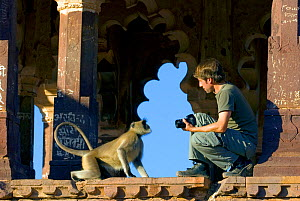 Photographer Axel Gomille, with Hanuman Langur (Semnopithecus/ Presbytis entellus), in front of Ranthambhore Fort, Rajasthan, India. December 2006. - Axel  Gomille