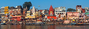 Panoramic of Varanasi and the River Ganges, considered the holiest city of Hinduism, Ghats, Uttar Pradesh, India. February 2012.  -  Axel  Gomille