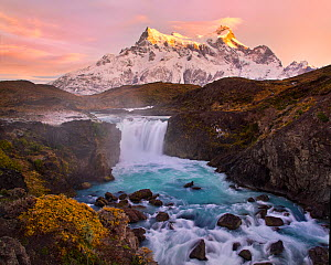 Salto Grande waterfall with Paine Grande beyond, Torres del Paine National Park, Chile, June 2014.  -  Floris  van Breugel