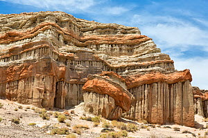Eroded sandstone cliffs. Red Rock Canyon State Park, Sierra Nevada, California, USA, May.  -  Chris  Mattison