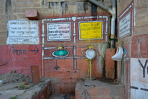 Public toilets on the banks of the Ganges, Varanasi, Uttah Pradesh, India, March 2014.  -  Loic  Poidevin