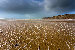 Winter storm over Baie des Trepasses / Bay of the Dead at low tide, Plogoff, Finistere, Brittany, France, February 2014. - Christophe Courteau