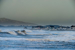 Sea front houses exposed to a storm in the Irish Sea, Rhosneigr, Anglesey, Wales. May 2012.  -  Graham  Eaton