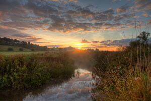 River Brue, at dawn with Glastonbury Tor in background,  Somerset, UK, August. - John Waters