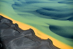 Aerial view of river delta, South West Iceland, June 2014. - Pal Hermansen