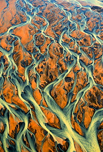 Aerial view of river delta, South West Iceland, June 2014. Finalist in the Art of Nature Category of the Big Picture Competition 2015.  -  Pal Hermansen