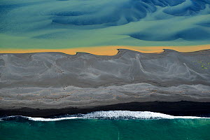 Aerial view of river delta and coast, South West Iceland, June 2014. - Pal Hermansen