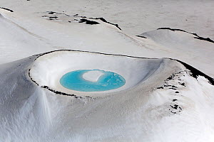 Aerial view of crater lake in snowy mountain, near Landmannalaugar, Iceland, June 2014.  -  Pal Hermansen