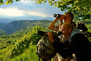 People wildlife watching in the Central Apennines rewilding area, National Park of Abruzzo, Lazio and Molise, Italy, June 2014.  -  Wild  Wonders of Europe / Widstrand