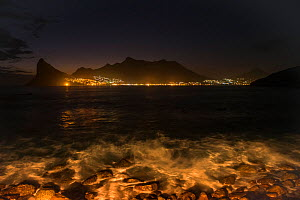 Hout Bay harbor at night, Western Cape, South Africa, May 2014. - Pete Oxford