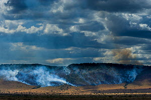 Bushfires in dry season on the Isuria escarpment, Masai-Mara Game Reserve, Kenya. October 2007.  -  Denis-Huot