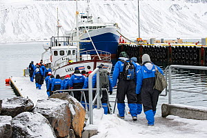 Tourists boarding commercial whale-watching boat, Grundarfjordur, Iceland, March 2014.  -  Terry  Whittaker