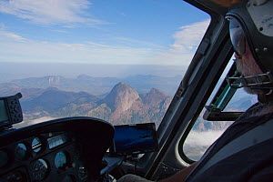 Aerial of Mount Namuli taken from within helicopter, Mount Namuli, Mozambique, May 2011.  -  Hugh Pearson