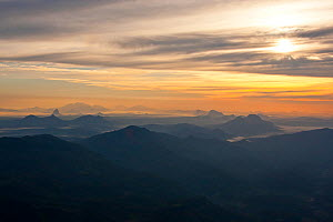 Aerial view of  Mount Namuli at dawn, Mozambique, May 2011.  -  Hugh Pearson