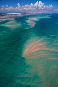 Aerial view of shifting sand banks off the coast of the Bazaruto Archipelago, Mozambique, May 2011.  -  Hugh Pearson