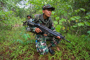 Anti-poaching patrol, Thap Lan national park, Dong Phayayen-Khao Yai Forest Complex, eastern Thailand, August, 2014.  -  Ann  & Steve Toon
