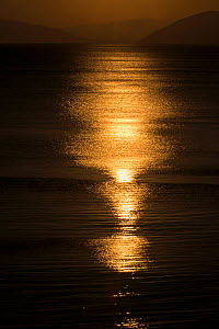 Sunset reflected on the surface of the Aegean Sea on a calm day, Evia Island, Greece. July 2014. - Constantinos Petrinos