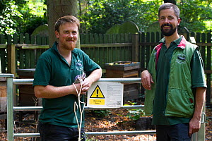 Two wardens with bee hive, part of project by Friends of Tower Hamlets Cemetery,Tower Hamlets Cemetery, Bow, London, UK, September 2014.  -  David  Woodfall