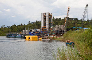 Kivuwatt biogas plant under construction. The plant will remove methane from the waters of Lake Kivu and power three genrators to produce 26MW of electricity. Kibuye, Rwanda. November 2014.  -  Tom  Gilks