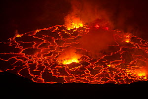 Nyiragongo volcano lava lake, Virungas National Park, Democratic Republic of Congo February 2015.  -  Tom  Gilks