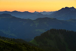 The view east to the Brienzer Rothorn, seen from the Gemmenalphorn at sunrise. Bernese Alps, Canton of Berne, Switzerland, August 2014. Digital composite.  -  Andy  Trowbridge