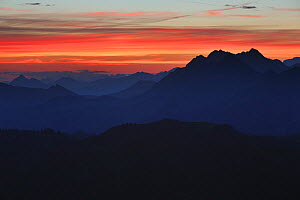 The view east to the Brienzer Rothorn seen from the Gemmenalphorn (061m) at sunrise, Bernese Alps, Canton of Berne, Switzerland, August 2014. Digital composite.  -  Andy  Trowbridge