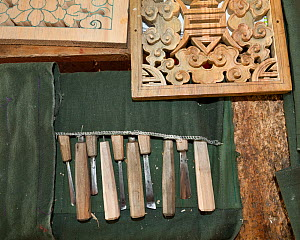 Tools used for woodcarving class at the National Institute For Zorig Chusm (School Of The Arts) Thimphu. Bhutan, October 2014.  -  Kirkendall-Spring