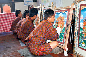 Painting class at the National Institute For Zorig Chusm (School Of The Arts) in Thimphu. Bhutan, October 2014.  -  Kirkendall-Spring