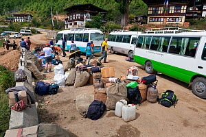Gear ready to be loaded on to ponies at the start of the Jhomolhaei Trek. Bhutan, October 2014.  -  Kirkendall-Spring