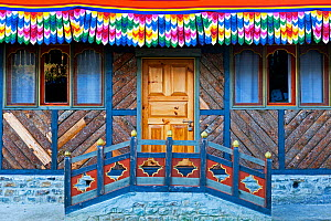 Doorway of the poet Dilgo Khyentse Rinpoche's house, near Paro, Bhutan, October 2014.  -  Kirkendall-Spring