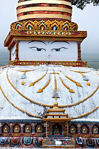 Tibetan style stupa with face, Punakha, Bhutan, October 2014. - Kirkendall-Spring