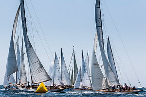 Start of the coastal regatta at Le Vele D'Epoca Napoli 2013, Panerai Classic Yacht Challenge. Naples, Italy, 30th June 2013. All non-editorial uses must be cleared individually. - Sea  & See