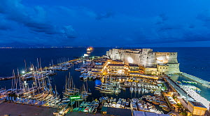 Naples Harbour and Castle lit at night during the Panerai Classic Yacht Challenge 2013, Naples, Italy, 29th June 2013. All non-editorial uses must be cleared individually. - Sea  & See