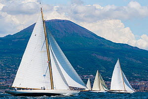 'Halloween', 'Emilia' and other boats sailing in front of Mount Vesuvius, during the Panerai Classic Yacht Challenge, Le Vele D'Epoca Napoli 2013. Naples, Italy, 28th June 2013. All non-editorial uses... - Sea  & See