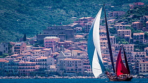 Yachts passing in front of coastal buildings during the Panerai Classic Yacht Challenge, Argentario Sailing Week 2013. Porto Santo Stefano, Italy, 14th June 2013. All non-editorial uses must be cleare... - Sea  & See