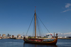 Draken Harald Harfagre (Dragon Harald Fairhair) departing from Birkenhead for her journey back to Norway via the Isle of Man, East Float Dock, Birkenhead, Merseyside, United Kingdom, 4th August 2014.... - Graham  Brazendale