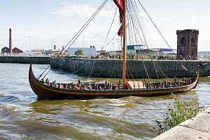 Draken Harald Harfagre (Dragon Harald Fairhair) emerging from the Alfred Lock as she departs Birkenhead for her journey back to Norway via the Isle of Man, East Float Dock, Birkenhead, Wirral, Merseys... - Graham  Brazendale