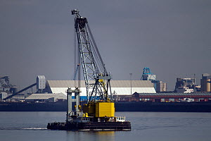 Floating Crane 'Lara 1' on the River Mersey, Liverpool, Merseyside, United Kingdom, July 2014. All non-editorial uses must be cleared individually. - Graham  Brazendale