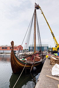 Draken Harald Harfagre (Dragon Harald Fairhair) after a new mast was installed, West Float Dock, Birkenhead, Wirral, Merseyside, United Kingdom, 31st July 2014. All non-editorial uses must be cleared... - Graham  Brazendale