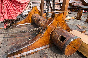 Deck details of the Draken Harald Harfagre (Dragon Harald Fairhair) after a new mast was installed, West Float Dock, Birkenhead, Wirral, Merseyside, United Kingdom, 31st July 2014. All non-editorial u...  -  Graham  Brazendale