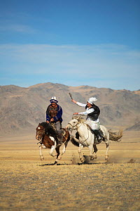Eagle hunter woman whipping man on slow Mongolian horse to try to slow him down during game at the Eagle hunter's festival. She is on a faster horse but if he wins the game he is entitled to a kiss.... - Kristel  Richard