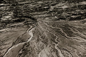View from plane of rivers at foot of mountains, Mashkhe, South West Pakistan, December.  -  Paul Williams