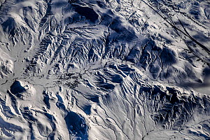 View from plane of Elburz Mountains, Iran, December.  -  Paul Williams