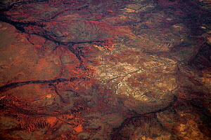 View from plane of Gibber landscape, Western Australia, Newman, Western Australia, November. - Paul Williams