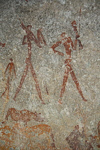 San rock paintings of human figures, Matobo Hills, Zimbabwe. January 2011.  -  Steve O. Taylor (GHF)