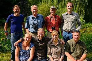 Oder delta rewilding team - standing from left: Jonathan Rauhut, Frans Schepers, Ulrich Stocker and Matt McLuckie, sitting from left: Iwona Krepic, Stefan Schwill, Suleika Suntken and Arthur Furdyna,...  -  Wild  Wonders of Europe / Widstrand